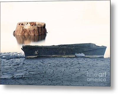Lake Bottom Boat Metal Print by Ronald Hoggard
