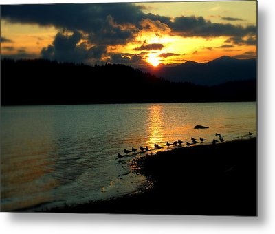 Metal Print featuring the photograph Lake Coeur D'alene Sunset Reflections by Cindy Wright