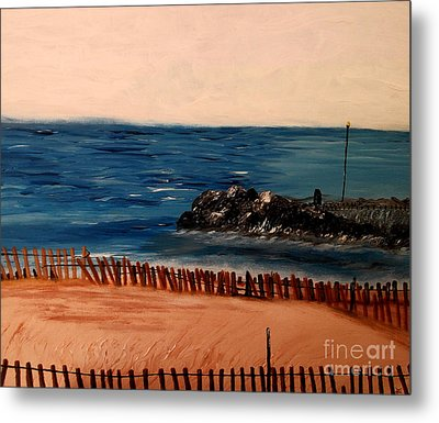 Metal Print featuring the painting Lake Michigan Blues by Ayasha Loya