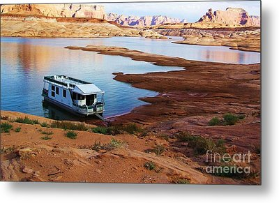 Lake Powell Houseboat Metal Print by Michele Penner