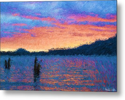 Lake Quinault Sunset - Impressionism Metal Print by Heidi Smith