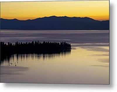 Lake Tahoe Silhouette - California Metal Print by Brendan Reals