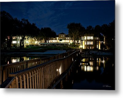 Lakeside Inn At Night Metal Print by Christopher Holmes