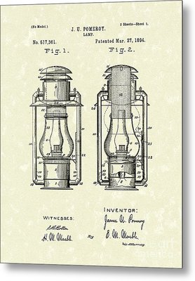Lamp Pomeroy 1894 Patent Art Metal Print by Prior Art Design