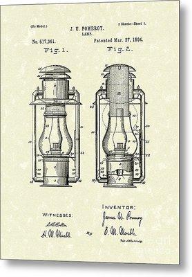 Lamp Pomeroy 1894 Patent Art Metal Print