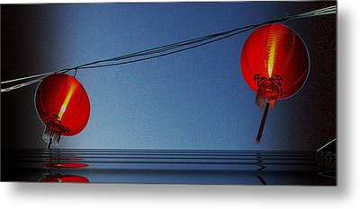 Lampion Metal Print by Arik S Mintorogo