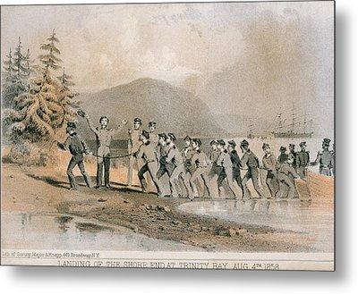 Landing Of The First Atlantic Telegraph Metal Print by Everett