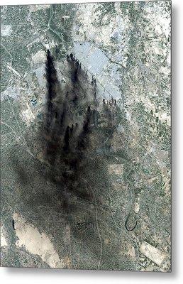 Landsat Image Of Baghdad Showing Dark Metal Print by Everett