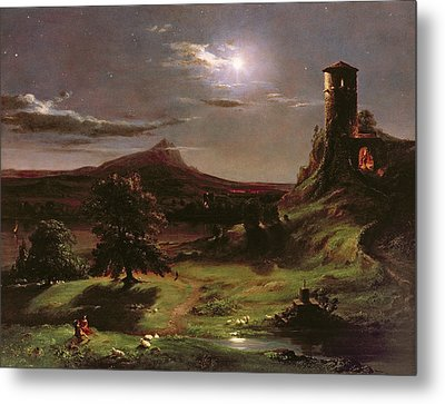 Landscape - Moonlight Metal Print by Thomas Cole