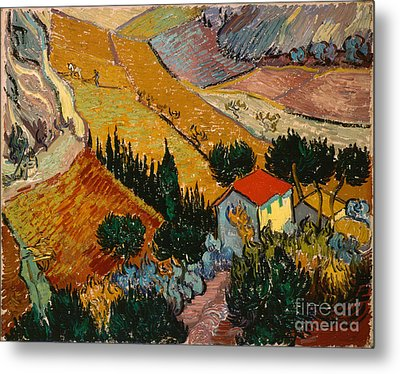 Landscape With House And Ploughman Metal Print by Gogh Vincent van