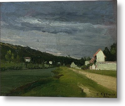 Landscape With Stormy Sky Metal Print by Camille Pissarro