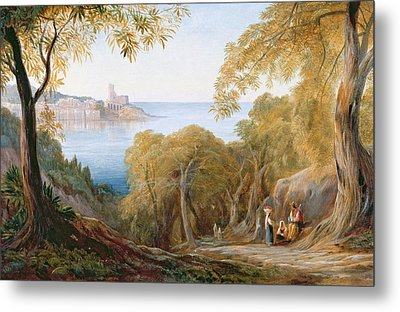 Landscape With View Of Lerici Metal Print by Edward Lear