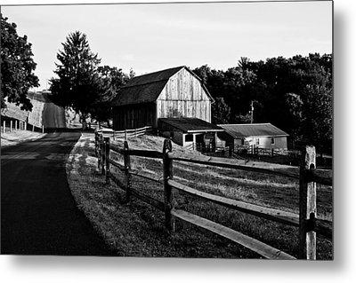 Langus Farms Black And White Metal Print by Jim Finch