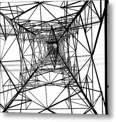 Large Electricity Powermast Metal Print by Yali Shi