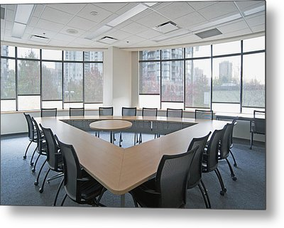 Large Empty Boardroom. A Long Narrow Metal Print by Marlene Ford