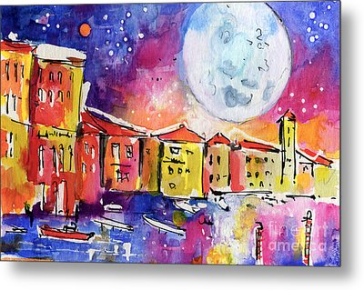 Large Moon Over Venice  Metal Print by Ginette Callaway