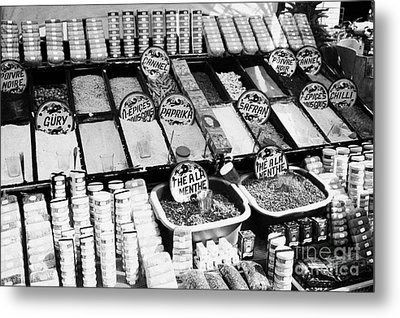 Large Range Of Various Spices Open And Packaged On A Stall At The Market In Nabeul Tunisia Metal Print by Joe Fox