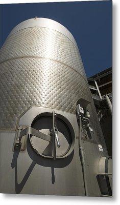 Large Steel Vat For Wine Making Metal Print by James Forte