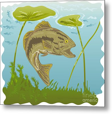 Largemouth Bass Jumping Metal Print by Aloysius Patrimonio