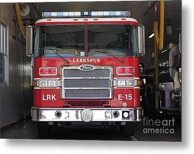 Larkspur Fire Department Fire Engine - Larkspur California - 5d18474 Metal Print by Wingsdomain Art and Photography