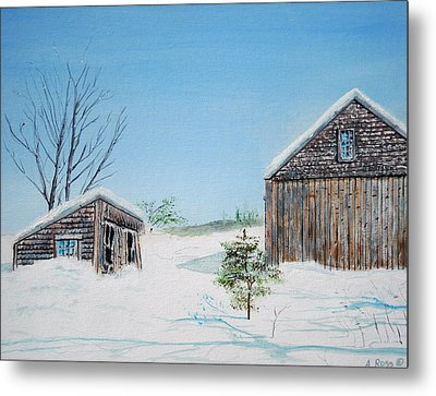 Last Barn In Winter Metal Print by Anthony Ross