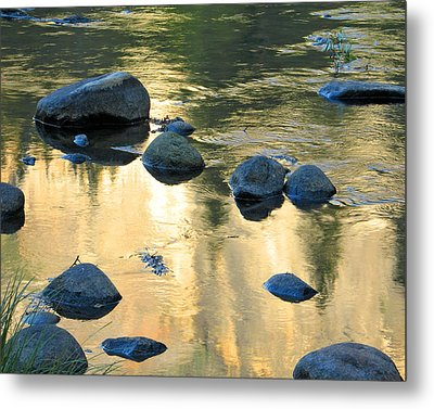 Late Afternoon Reflections In Merced River In Yosemite Valley Metal Print by Greg Matchick