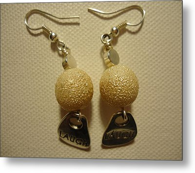 Laugh In Pearl Earrings Metal Print