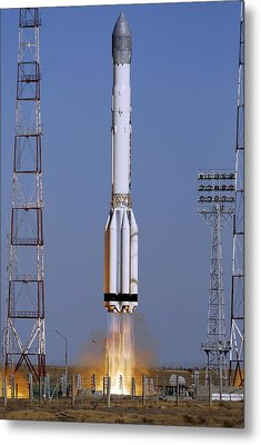 Launch Of Proton-k Rocket Metal Print by Ria Novosti