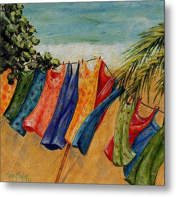 Metal Print featuring the painting Laundry Day At The Beach by Terry Taylor