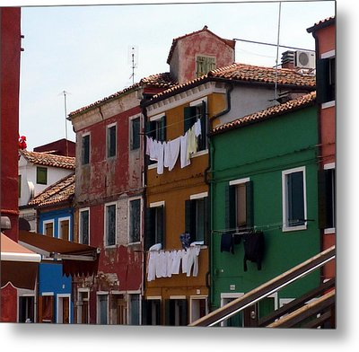 Laundry Day In Burano Metal Print by Carla Parris