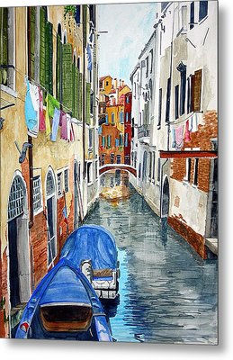 Metal Print featuring the painting Laundry Day In Venice by Tom Riggs
