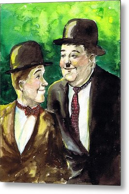 Laurel And Hardy Metal Print by Mel Thompson