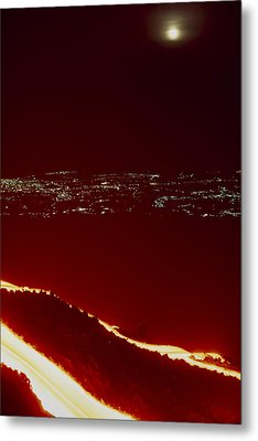 Lava Flow At Night Metal Print by Dr Juerg Alean