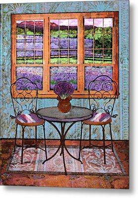 Lavender Bistro Metal Print by Mary Ogle