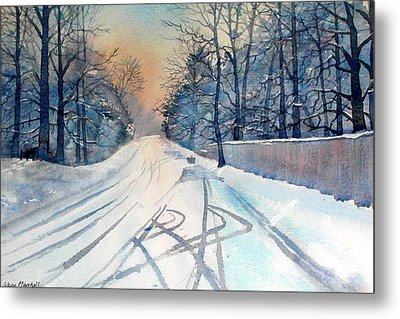 Layby In The Snow Metal Print
