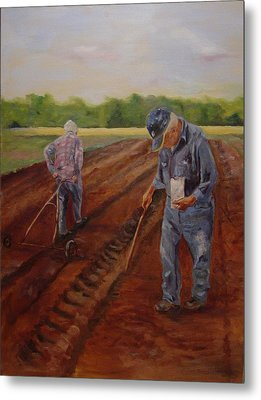 Metal Print featuring the painting Laying Off Rows by Carol Berning