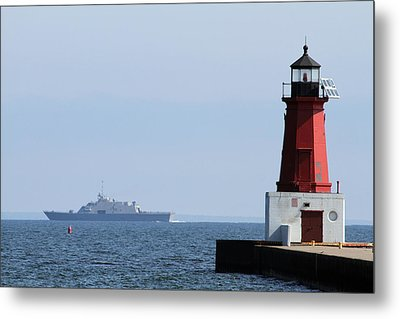 Metal Print featuring the photograph Lcs3 Uss Fort Worth By The Menominee Lighthouse by Mark J Seefeldt