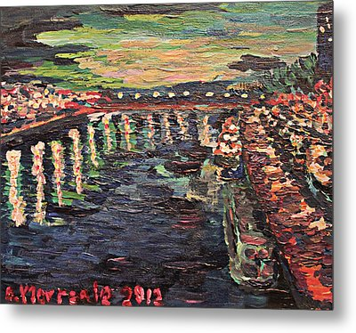 Metal Print featuring the painting Le Seine De Nuit by Denny Morreale