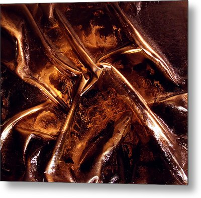 Leather And Gold 2 Metal Print by Angela Stout