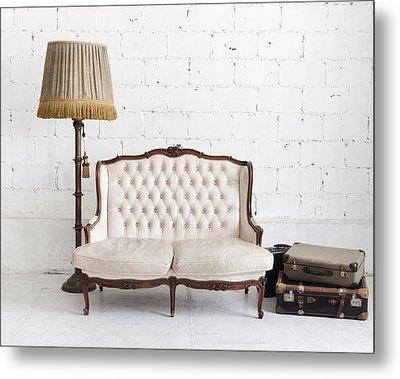 Leather Sofa In White Room Metal Print by Setsiri Silapasuwanchai
