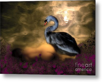 Metal Print featuring the digital art Leda And The Swan by Rosa Cobos