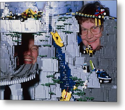 Lego Model And And Its Constructors Metal Print by Volker Steger