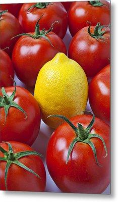 Lemon And Tomatoes Metal Print by Garry Gay