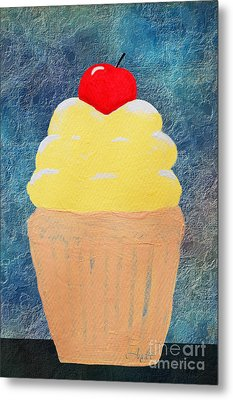 Lemon Cupcake With A Cherry On Top Metal Print by Andee Design