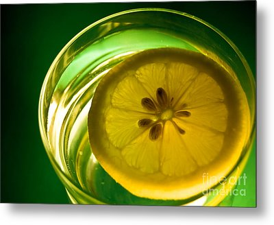 Lemon In The Glass Of Water Metal Print