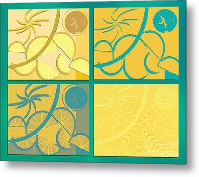 Lemon Sun And Moon Metal Print by Michelle Bergersen