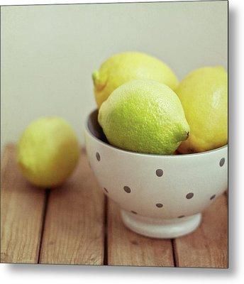 Lemons In Bowl Metal Print by Copyright Anna Nemoy(Xaomena)