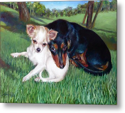 Metal Print featuring the painting Lena And Peanut by Nancy Tilles