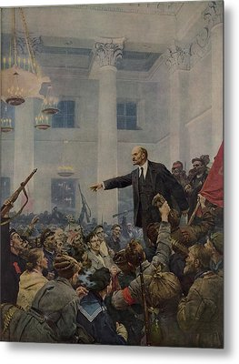 Lenin 1870-1924 Declaring Power Metal Print