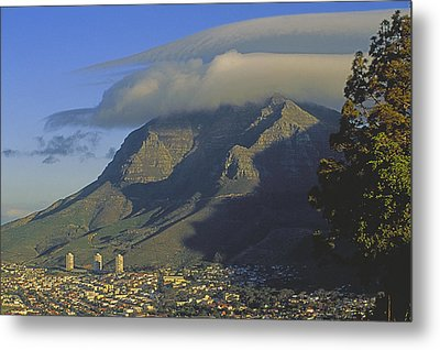 Lenticular Cloud Over Table Mountain Metal Print by Gordon Wiltsie
